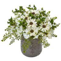 Nearly Natural 13-Inch White Daisy Bush in Grey Filigree Ceramic Planter