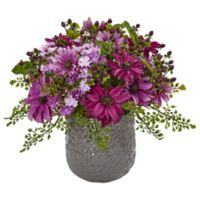 Nearly Natural 13-Inch Pink Daisy Bush in Grey Filigree Ceramic Planter