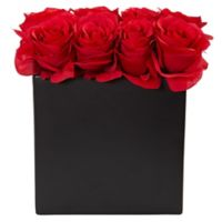 Nearly Natural 9-Inch Red Rose Arrangement in Black Tall Rectangular Planter