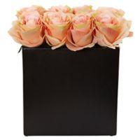 Nearly Natural 9-Inch Peach Rose Arrangement in Black Tall Rectangular Planter