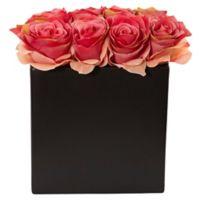 Nearly Natural 9-Inch Dark Pink Rose Arrangement in Black Tall Rectangular Planter