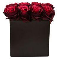 Nearly Natural 9-Inch Burgundy Rose Arrangement in Black Tall Rectangular Planter