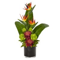 Nearly Natural 25-Inch Mauve Bird of Paradise Arrangement in Black Glass Pot