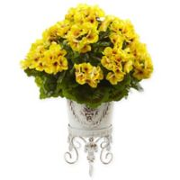 Nearly Natural 18.5-Inch Yellow Geranium Bush in White Metal Planter Stand