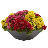 Nearly Natural 15-Inch Rainbow Geranium Arrangement in Matte Black Square Bowl