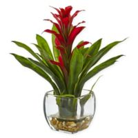 Nearly Natural 12-Inch Red Bromeliad in Squared Glass Vase