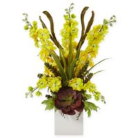 Nearly Natural 23-Inch Yellow Delphinium and Succulent Arrangement in White Square Vase