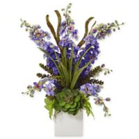 Nearly Natural 23-Inch Purple Delphinium and Succulent Arrangement in White Square Vase