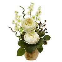Nearly Natural 17-Inch White Rose and Dancing Daisy Arrangement in Decoupage Wood Vase