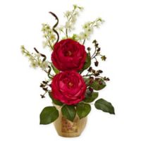 Nearly Natural 17-Inch Red Rose and Dancing Daisy Arrangement in Decoupage Wood Vase