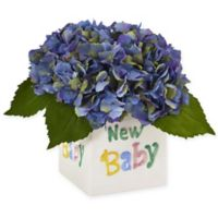 """Nearly Natural 9.5-Inch Blue Hydrangea Arrangement in """"New Baby"""" Ceramic Cube"""