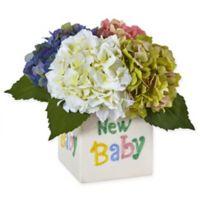 "Nearly Natural 9.5-Inch Rainbow Hydrangea Arrangement in ""New Baby"" Ceramic Cube"