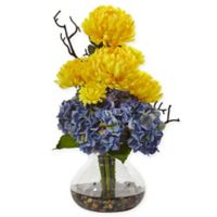 Nearly Natural 19-Inch Yellow/Blue Hydrangea and Mum Arrangement in Glass Vase