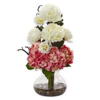 Nearly Natural 19-Inch Pink/White Hydrangea and Mum Arrangement in Glass Vase