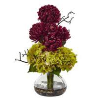 Nearly Natural 19-Inch Green/Burgundy Hydrangea and Mum Arrangement in Glass Vase