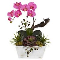 Nearly Natural 21-Inch Dark Pink Orchid & Succulent Garden in Whitewash Wood Planter Box