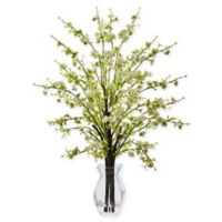 Nearly Natural 26-Inch White Cherry Blossom Branch Arrangement in Glass Vase