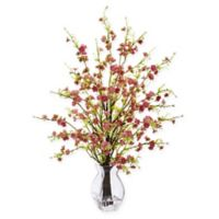 Nearly Natural 26-Inch Pink Cherry Blossom Branch Arrangement in Glass Vase