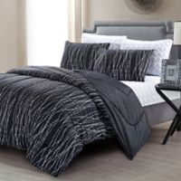 Pacific Coast Textiles Jake 6-Piece Reversible Queen Comforter Set in Black