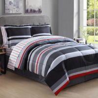 Lemon & Spice Arden Stripe 8-Piece Queen Comforter Set in Red/Black