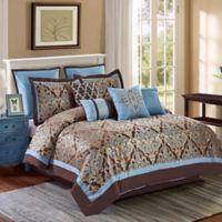 Avalon 10-Piece King Comforter Set in Brown