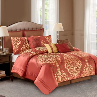 Wonder Home Hopewell 10 Piece Queen Comforter Set In Red