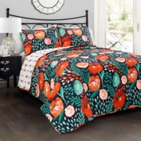 Lush Decor Poppy Garden Reversible Full/Queen Quilt Set in Navy