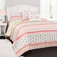 Lush Decor Fox Ruffle Striped Reversible Full/Queen Quilt Set in Pink