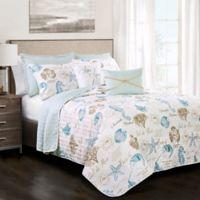 Lush Decor Harbor Life Reversible King Quilt Set in Blue