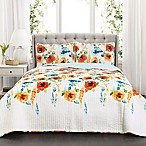Lush Decor Percy Bloom King Quilt Set in Tangerine