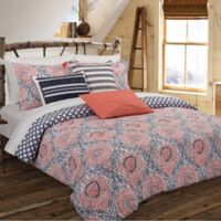 Nouvelle Home Floral Block Reversible King Comforter Set in Navy