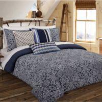 Nouvelle Home Cutwork Medallion Reversible Full/Queen Comforter Set in Indigo