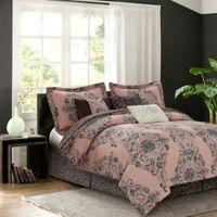 Zen Bardot 7-Piece Reversible King Comforter Set in Blush