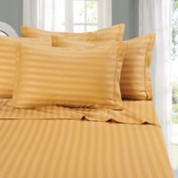 Elegant Comfort Wrinkle-Resistant Stripe Full Sheet Sheet in Camel/Gold