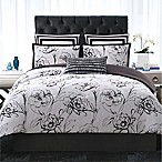 Christian Siriano Graphic Floral Twin XL Comforter Set in Black/White