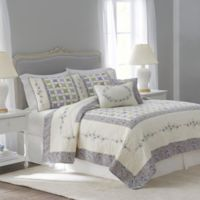 Nostalgia Home™ Cathedral Window Reversible Full/Queen Quilt in Ivory/Lilac