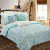 Nouvelle Home Painterly Paisley Reversible King Comforter Set in Turquoise