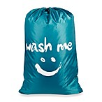 """Wash Me"" Novelty Laundry Bag in Blue"