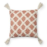 Magnolia Home Viola Square Throw Pillow Cover in Blush/Ivory