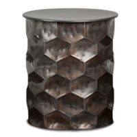 Simpli Home Whitney Metal Storage Side Table in Antique Bronze