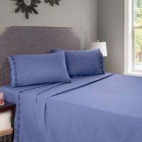 Nottingham Home Embroidered Brushed Microfiber Twin Sheet Set in Blue