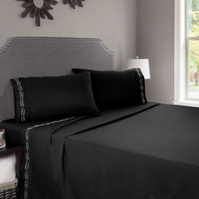 Nottingham Home Embroidered Brushed Microfiber Queen Sheet Set In Black