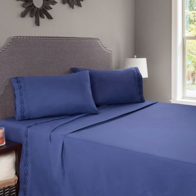 Nottingham Home Embroidered Brushed Microfiber Full Sheet Set In Navy