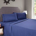 Nottingham Home Embroidered Brushed Microfiber Queen Sheet Set in Navy
