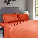 Nottingham Home Embroidered Brushed Microfiber King Sheet Set in Rust