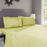 Nottingham Home Embroidered Brushed Microfiber Twin Sheet Set in Sage