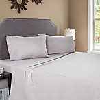 Nottingham Home Embroidered Brushed Microfiber Queen Sheet Set in Silver