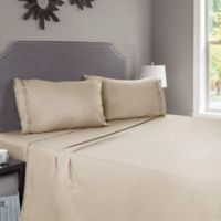 Nottingham Home Embroidered Brushed Microfiber Queen Sheet Set in Taupe