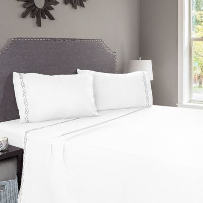 Nottingham Home Embroidered Brushed Microfiber Twin Sheet Set In White