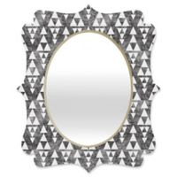 Deny Designs® Holli Zollinger 29-Inch x 22-Inch Oval Stacked Quatrefoil Mirror in Grey/White